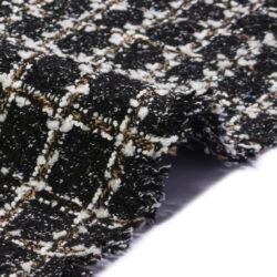 Bouclé nero per giacche con riga
